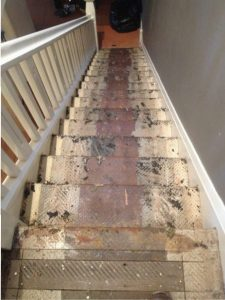 100 year old stairs ready for prep work.