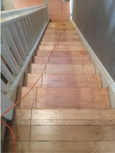 100 year old stairs finished in waterbase clear.