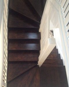 Black Japan stained stairs.