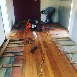 Prep work on floor repairs.